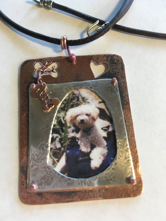 Memorial Sterling and Copper Frame Necklace--Dog Edition #2