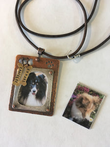 Memorial Sterling and Copper Frame Necklace--Dog Edition #1