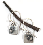 Sterling Tiny Valise Earrings with Dots