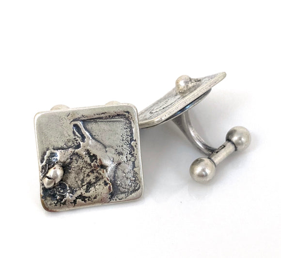 Abstract Reticulated Sterling Silver Cuff Links - Square