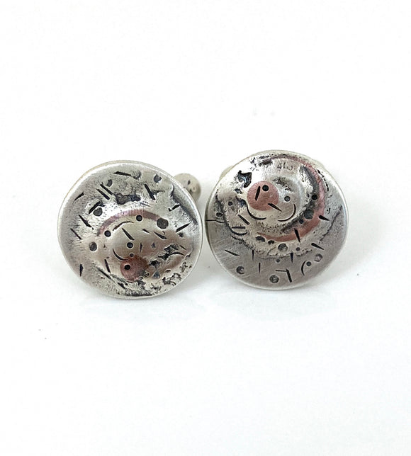 Abstract Reticulated Sterling Silver Cuff Links - Round