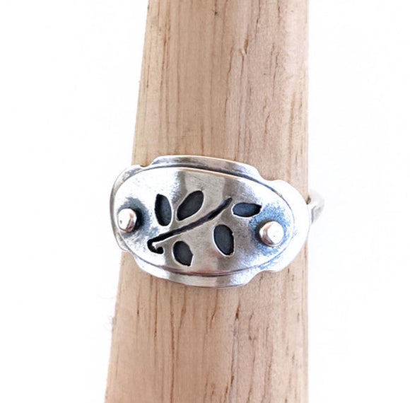 Vines & Leaves Sterling Silver Saddle Ring