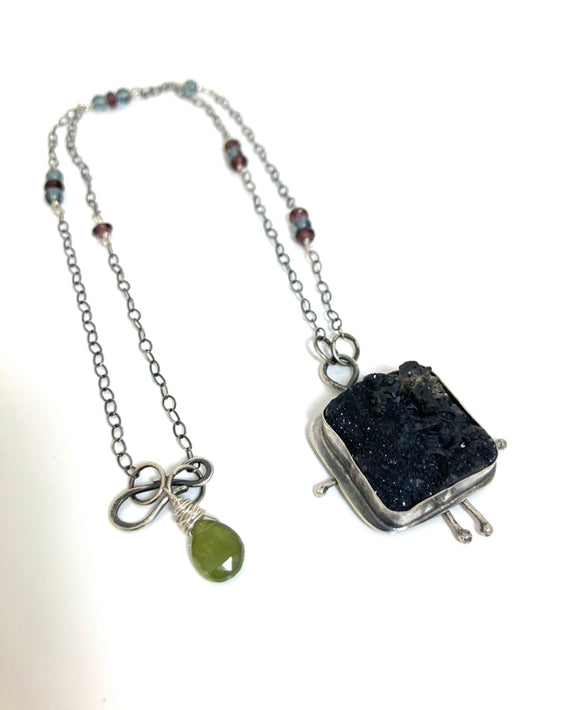 Who Says I'm Square? Black Drusy necklace