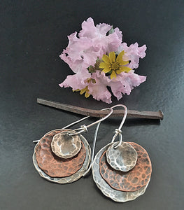 Disc-O-Graphy 3 Sterling & Copper Disc Earrings