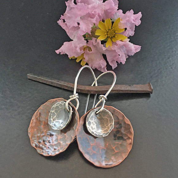 Disc-O-Graphy 2 Sterling & Copper Disc Earrings