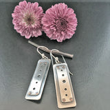 Little Windows Rectangle Sterling & Copper earrings #5