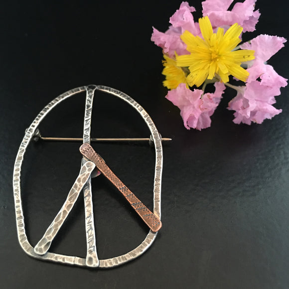 Large Sterling Peace Sign Pin with Copper