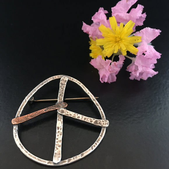 Medium Sterling & Copper Peace Sign Pin