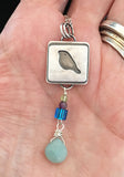 Sterling Birdie Necklace with Peruvian Opal Drop