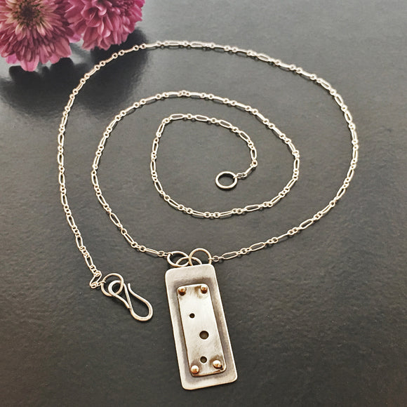 Little Windows Rectangle Sterling & Copper necklace