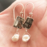 Reticulated Sterling and Pearl Earrings