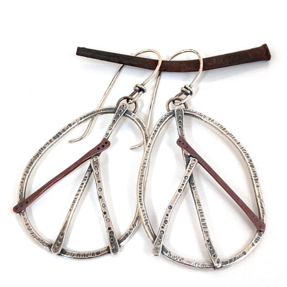 Peace symbol earrings -Silver & Copper