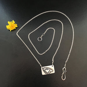 Itty Bitty Birdie Sterling Collarbone Necklace - Centered Heart
