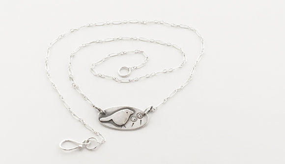Whimsical Sterling Birdie Necklace