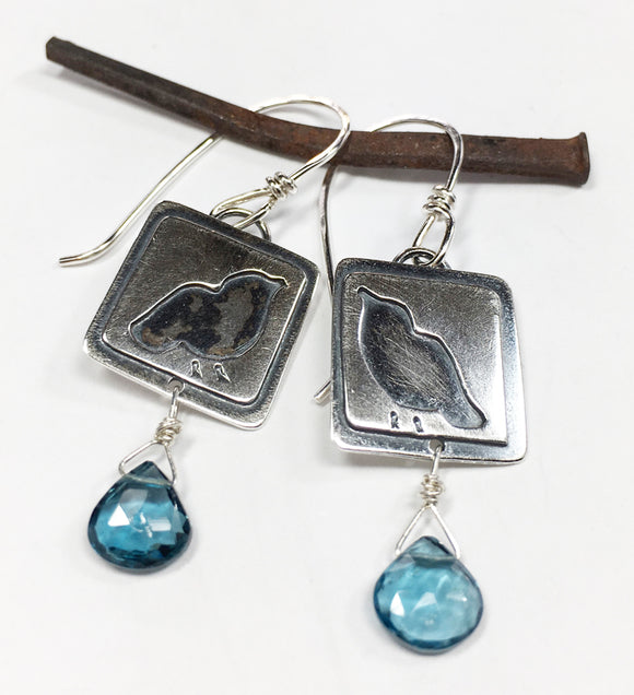 Sterling Birdie Blue Topaz Earrings