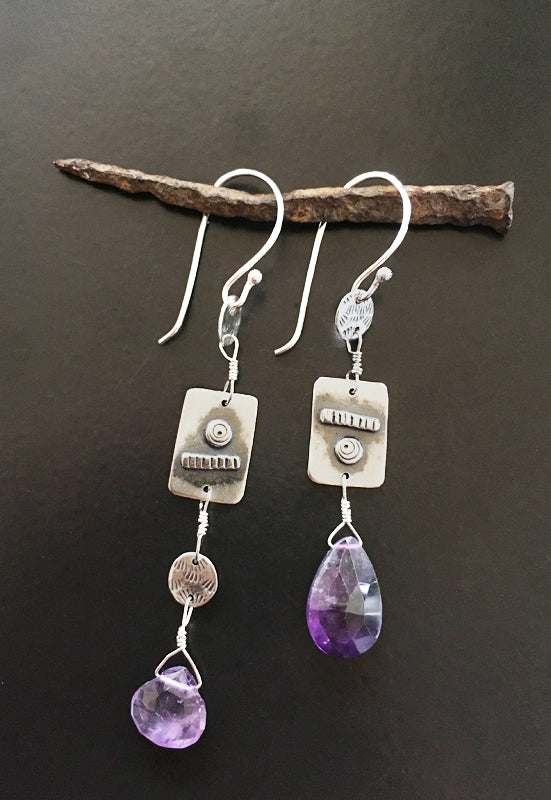 Asymmetrical Sterling Amethyst Earrings - Long