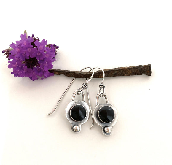 Dainty Black Tourmaline & Sterling Ear-bobs