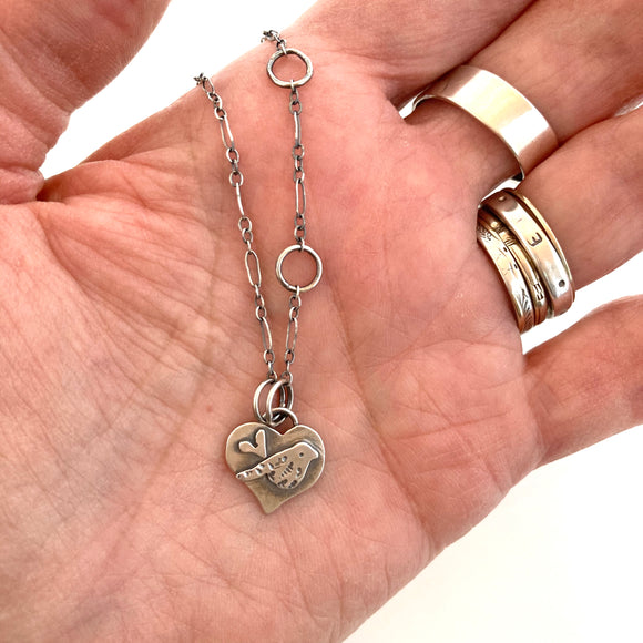 Tiny SS Chirpy Heart necklace