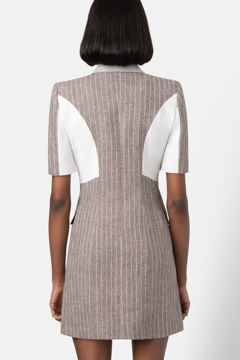 Structured Linen Blazer Dress - Combo Bone