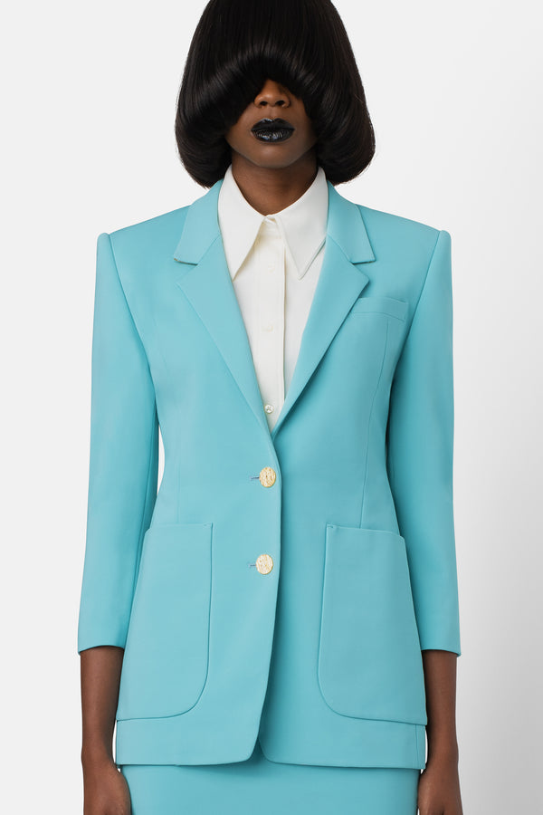Super Matte Jersey Boyfriend Blazer - Swimming Pool