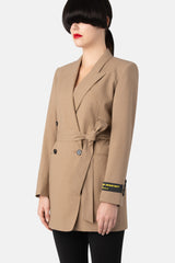 Liquid Resistant Double-Breasted Blazer - Light Camel