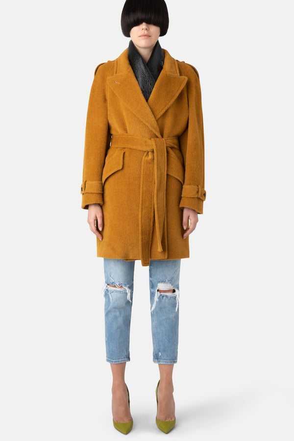 Alpaca Wool Wrapped Coat - Honey - LANDSCAPE