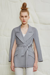 Cap Sleeve Wrap Soft Blazer - GREY - LANDSCAPE