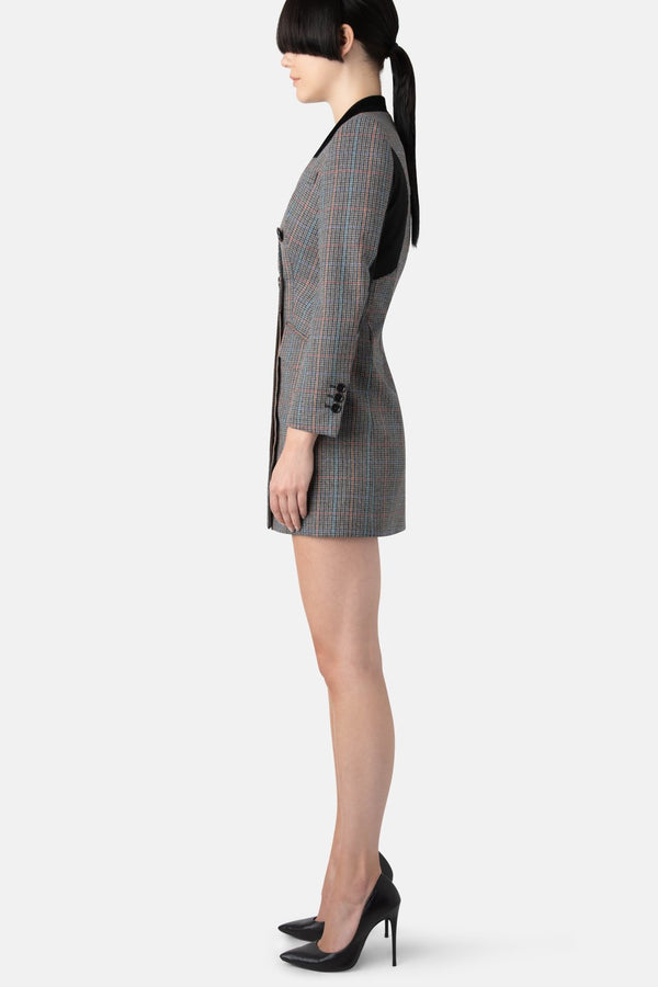 Double-Breasted Blazer Dress - Multi Plaid - LANDSCAPE