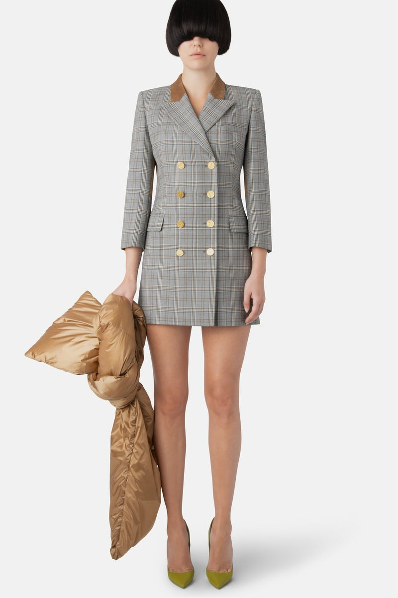 Double-Breasted Fine Wool Blazer Dress - Grey Plaid - LANDSCAPE