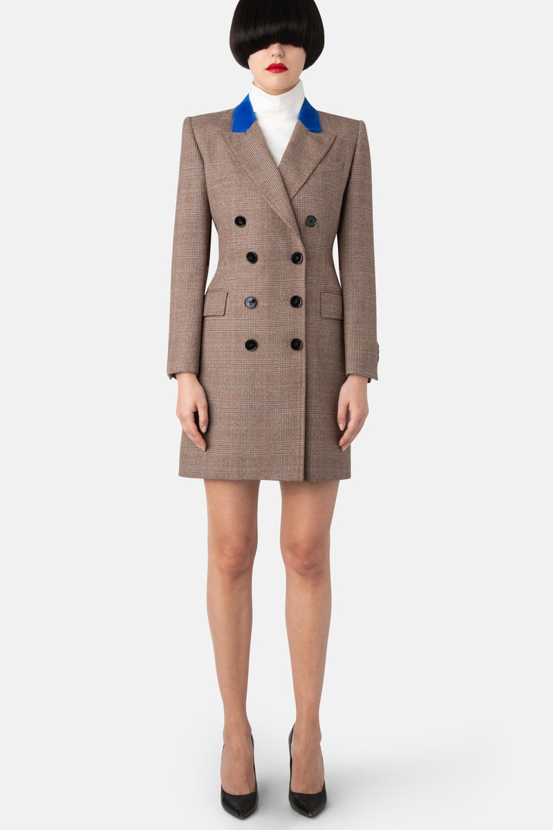 Double-Breasted Fine Wool Blazer Dress - Plaid - LANDSCAPE
