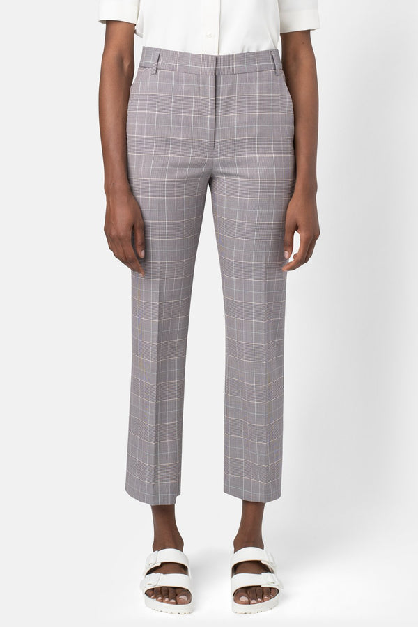 Fine Wool Cropped Pant - Plaid - landscapestore