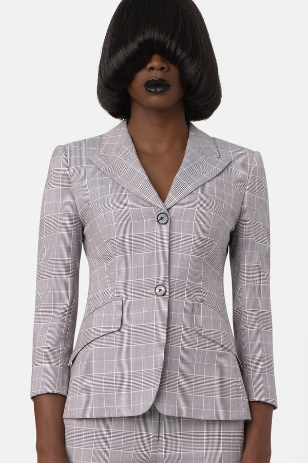 Fine Wool Cropped Sleeve Blazer - Plaid - landscapestore