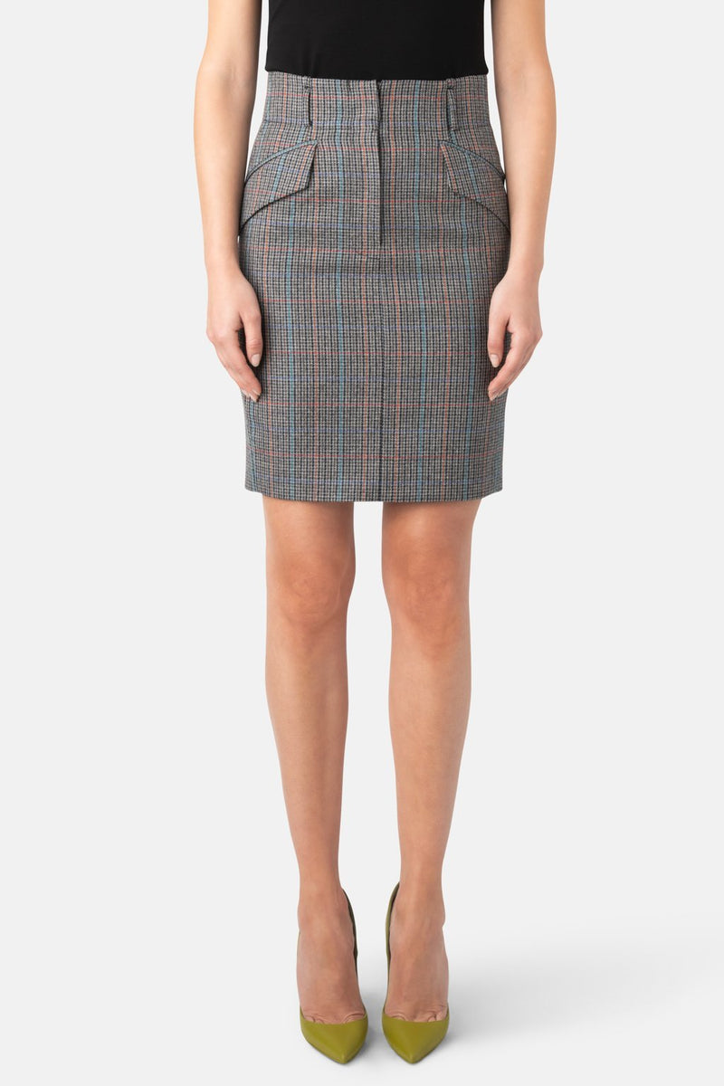 Fine Wool High Waist Skirt - Multi Plaid - LANDSCAPE