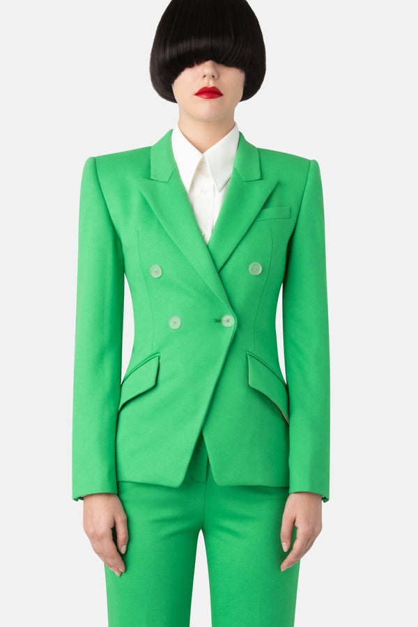 Jersey Fitted Double-Breasted Blazer - Green - LANDSCAPE