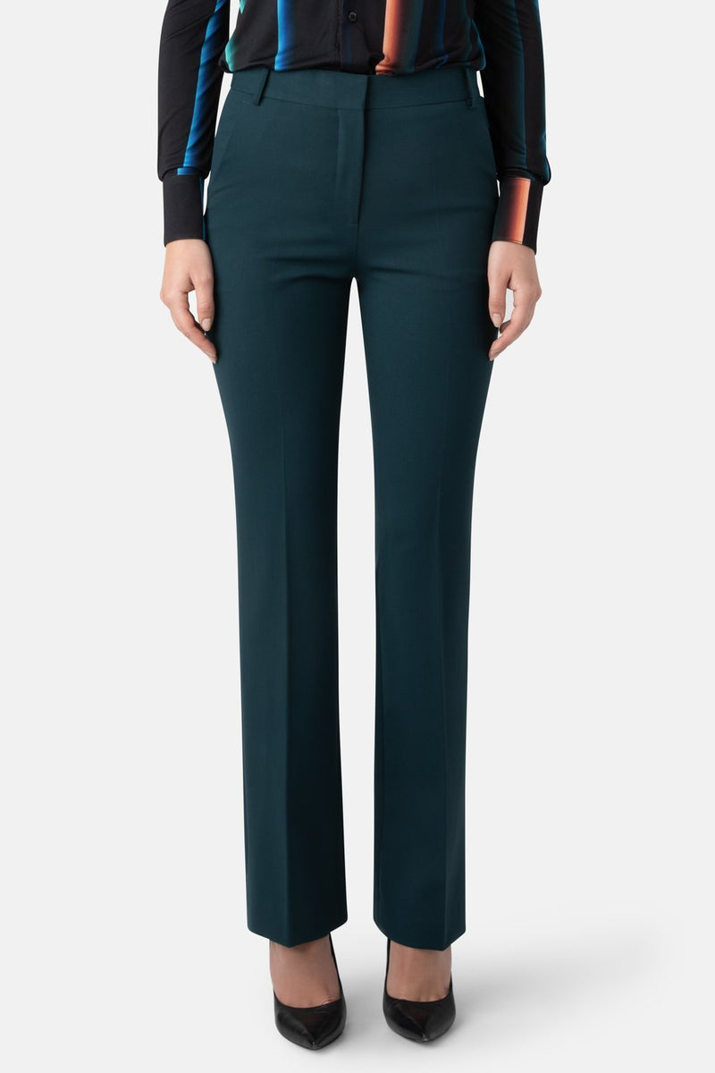 Liquid Resistant Fit-to-Flare Fine Wool Pant - Forest - LANDSCAPE