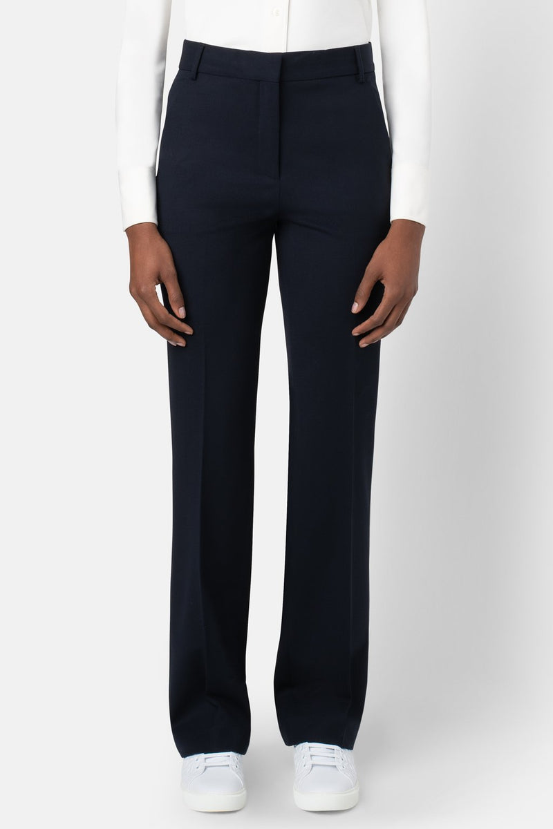 Liquid Resistant Fit-to-Flare Fine Wool Pant - Navy - landscapestore