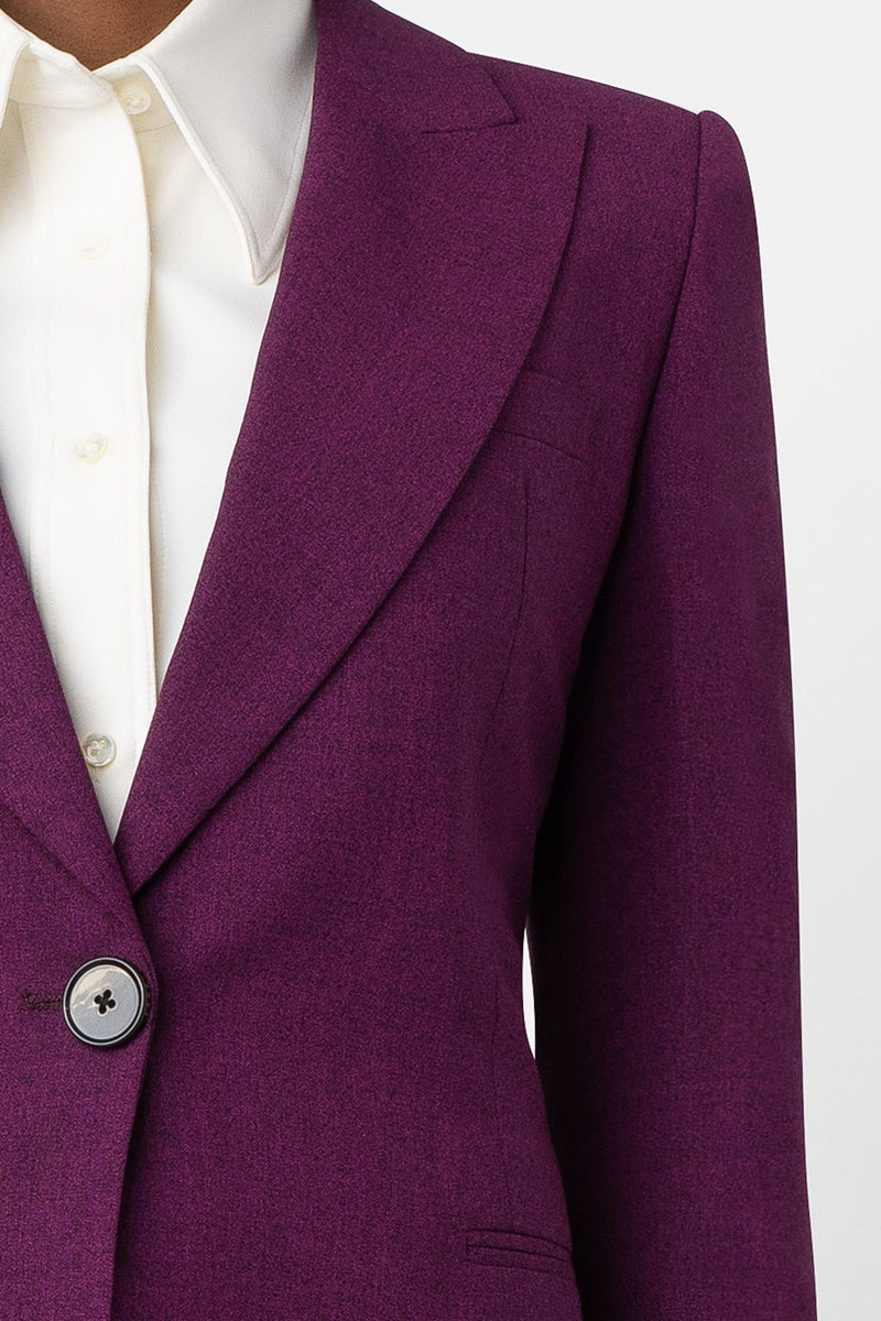 Liquid Resistant Single-Breasted Blazer - Berry - landscapestore
