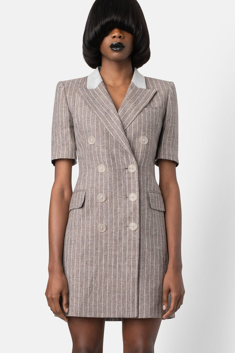 Structured Linen Blazer Dress - Combo Bone - landscapestore