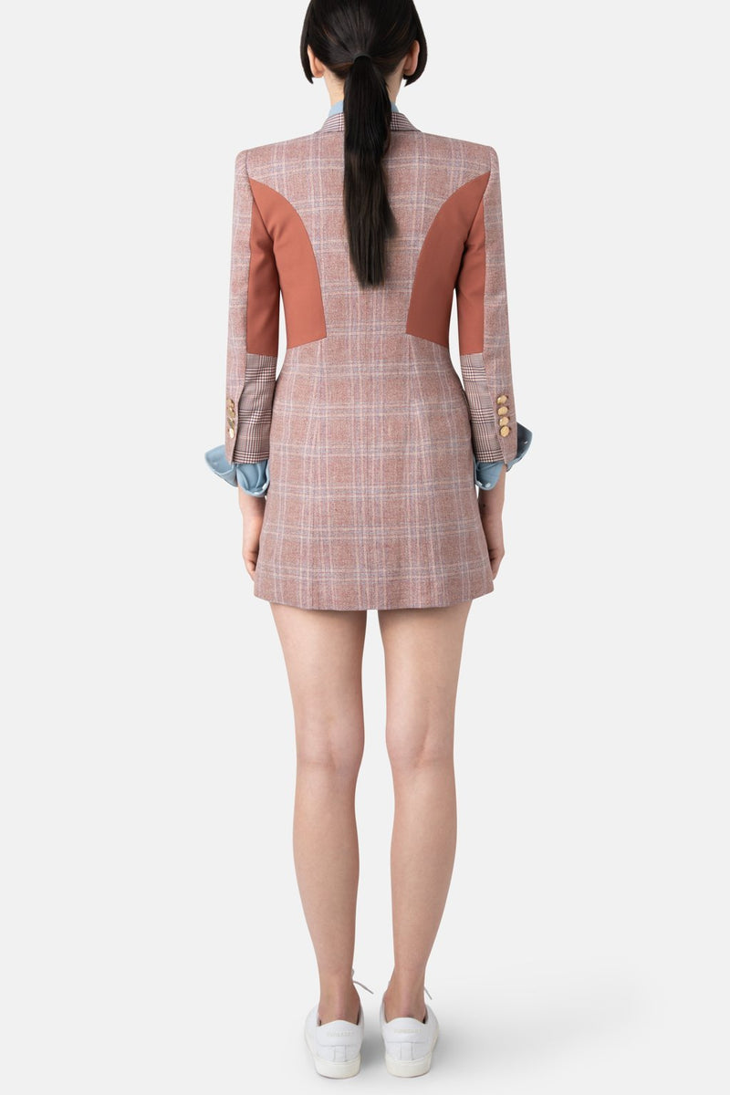 Structured Linen Blazer Dress - Rosewood Plaid - LANDSCAPE
