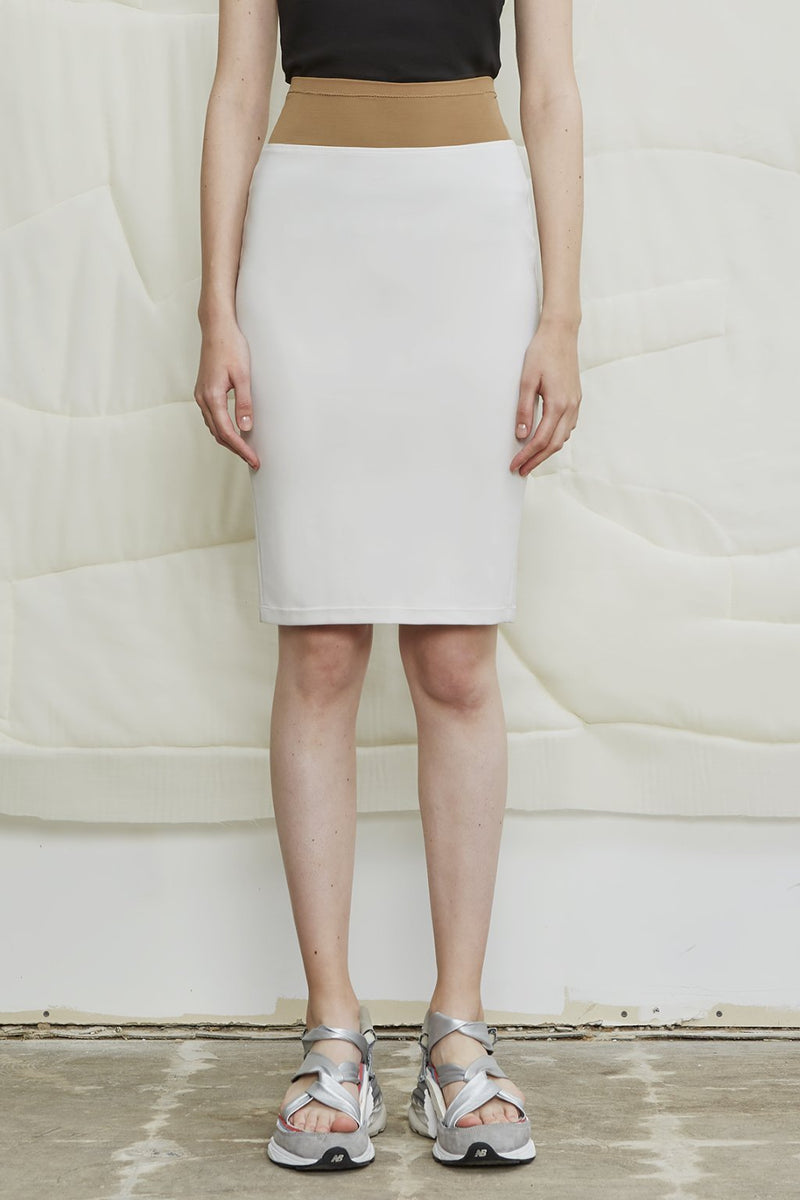 Super Matt Jersey Pull-on Pencil Skirt - Bone - LANDSCAPE