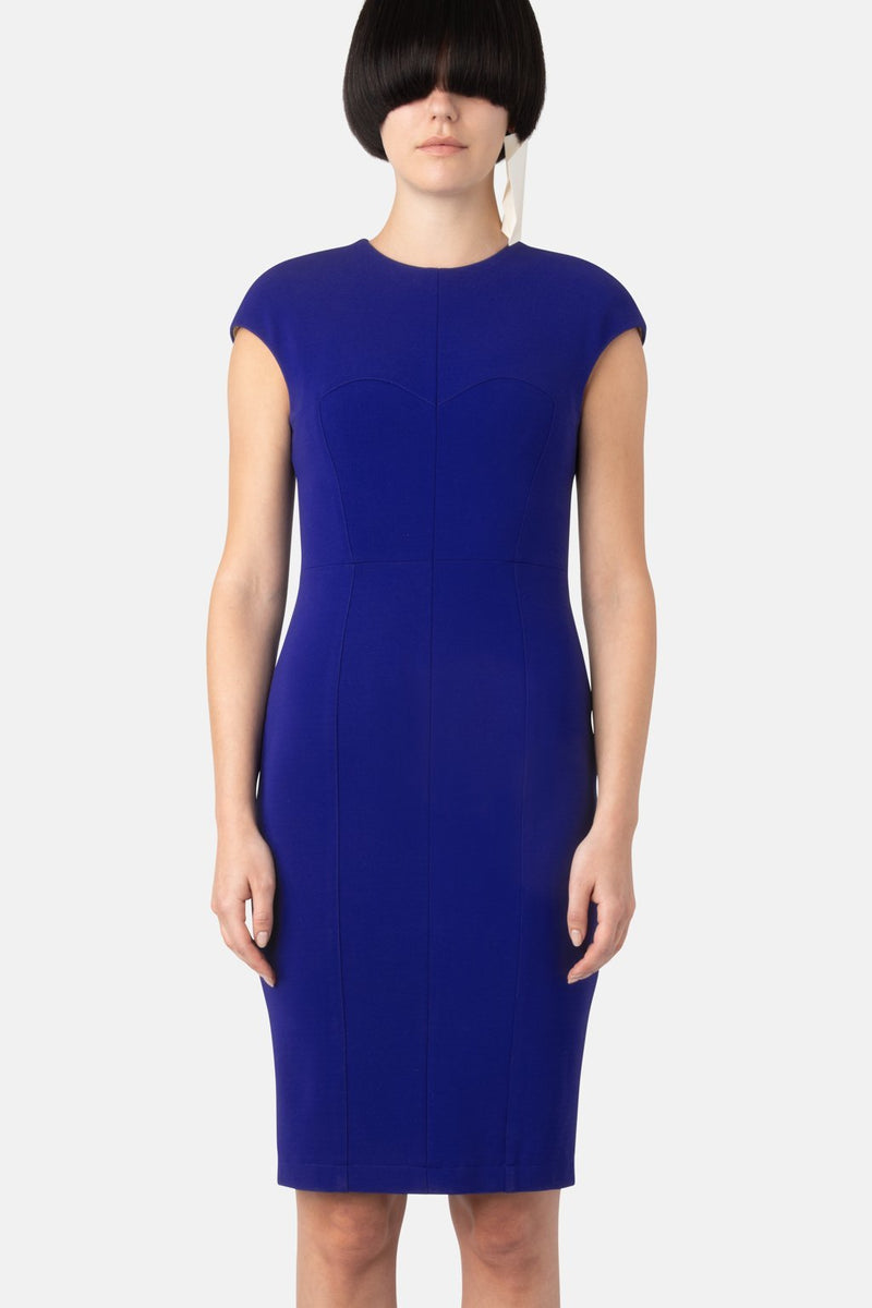 Super Matte Jersey Body Sculpter, Cap Sleeve Dress - Optic Blue - LANDSCAPE