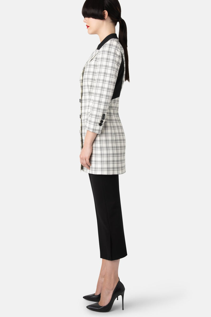 Super Matte Jersey Double-Breasted Fine Wool Blazer Dress - Black and White Plaid - LANDSCAPE