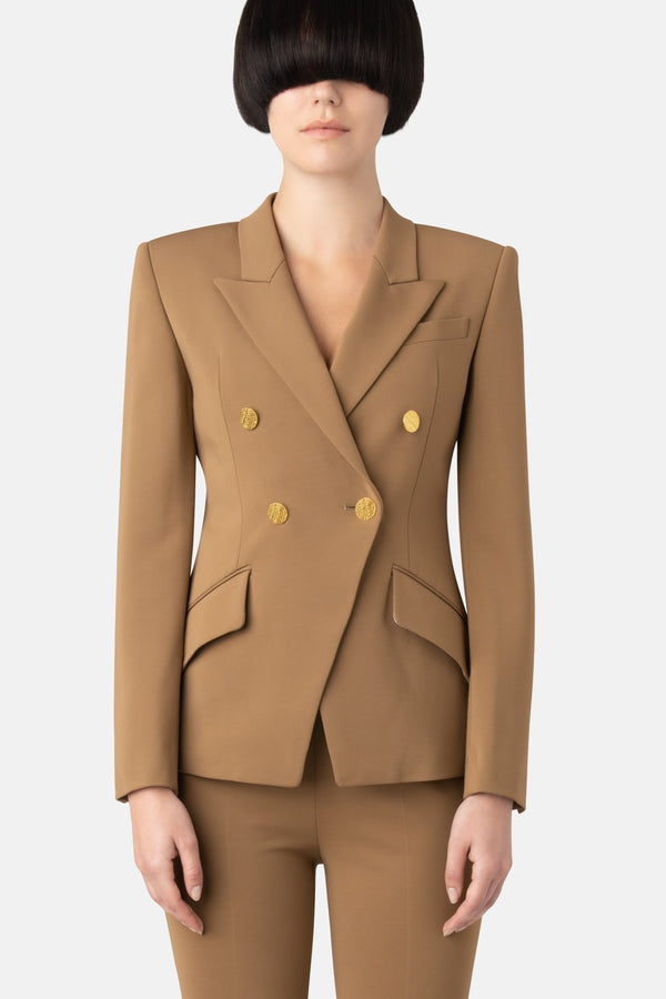 Super Matte Jersey Fitted Double-Breast Blazer - Camel - LANDSCAPE