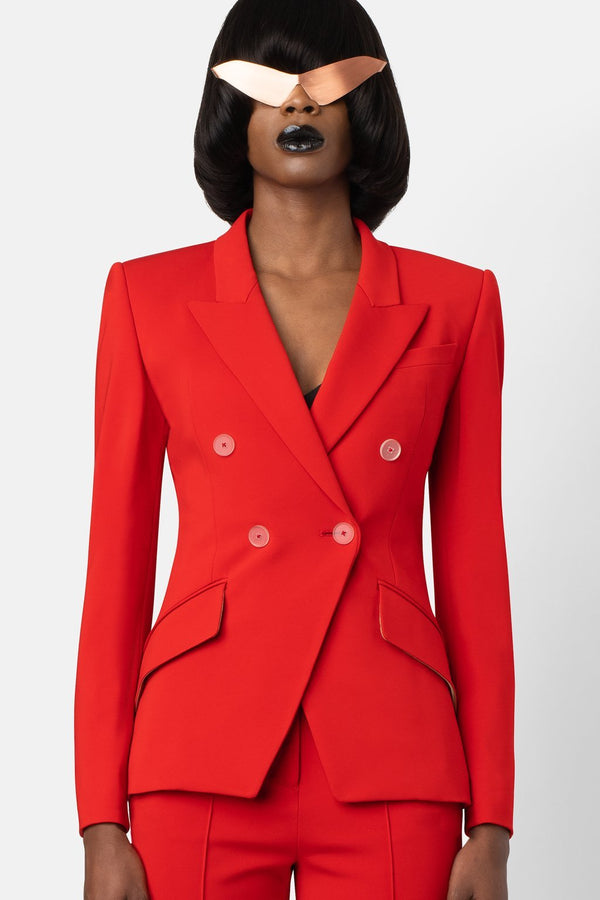 Super Matte Jersey Fitted Double-Breasted Blazer - Coral - landscapestore