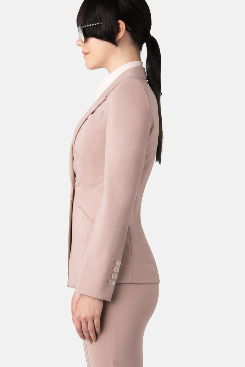 Super Matte Jersey Fitted Double-Breasted Blazer - Powder - LANDSCAPE