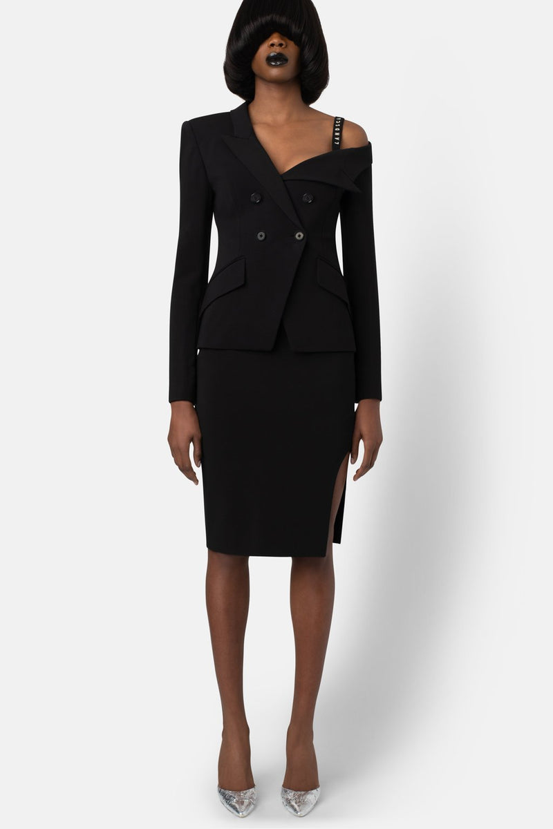 Super Matte Jersey Off One Shoulder Blazer - Black - landscapestore