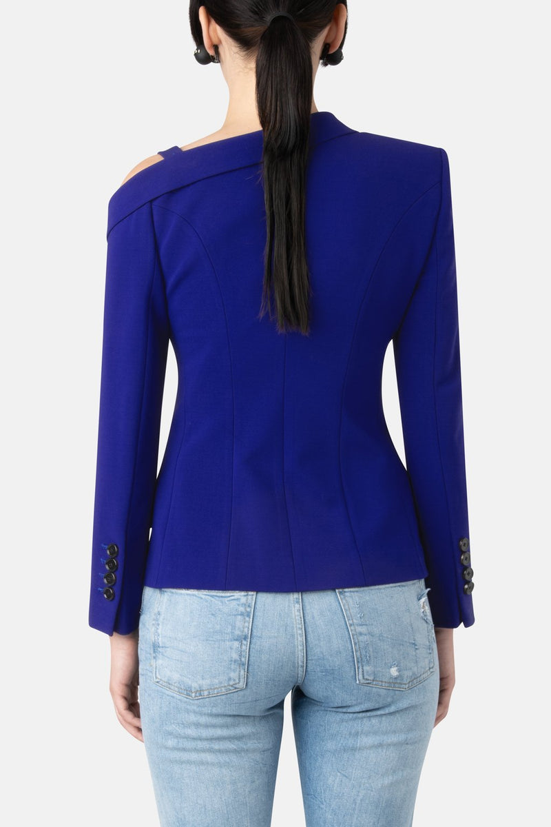 Super Matte Jersey Off One Shoulder Blazer - Optic Blue - LANDSCAPE
