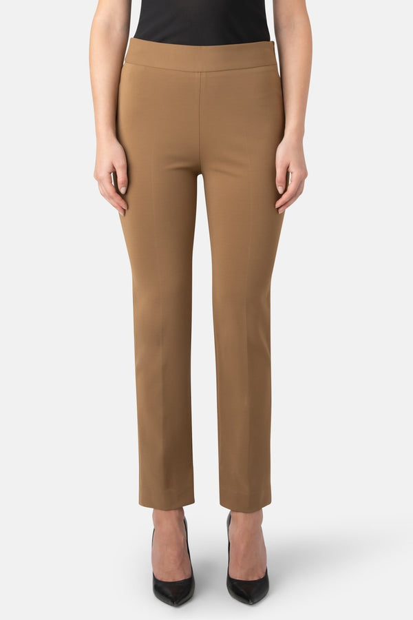 Super Matte Jersey Side-Zipped Waist, Bottom Slit Pant - Camel - LANDSCAPE