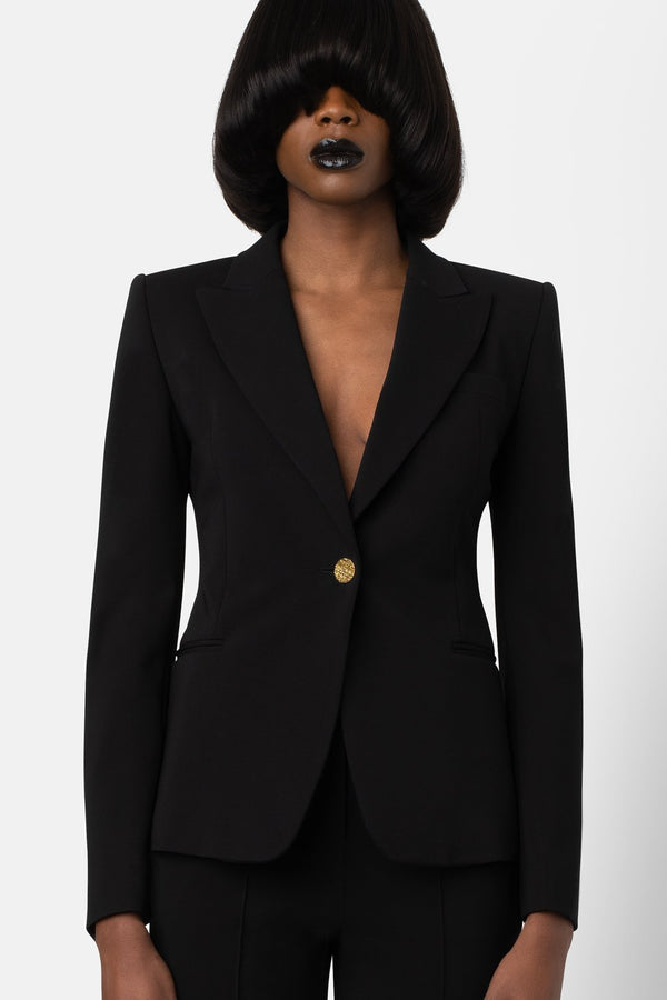 Super Matte Jersey Single-Breasted Blazer - Black - landscapestore