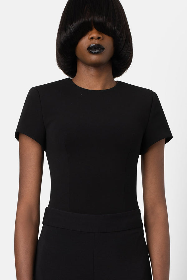 Super Matte Jersey Structured Bodysuit - Black - landscapestore